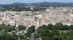 Old Corfu town cityscape Greece Stock Footage
