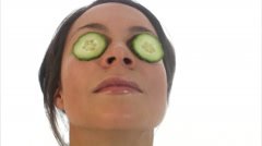 Woman with cucumber on her eyes, Sweden. Stock Footage