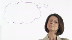 A business woman with a thought-bubble, Sweden. Stock Footage