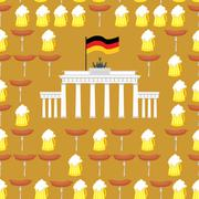 Stock Illustration of German seamless ornament. Symbols of Germany: beer and sausages.  German flag