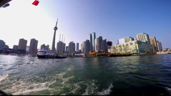 Toronto Tour Boat Departing Queens Quay With Skyline Stock Footage