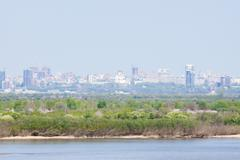 The shore of the Amur River in the background Khabarovsk - stock photo