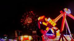 State Fair Rides and Fireworks Stock Footage
