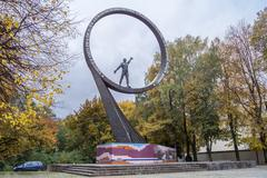 Memorable sign to cosmonauts by sculptor Boris Edunov installed in 1980 - stock photo