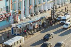 TVER, RUSSIA - APRIL 7, 2015: Public transport stop in the Kalinina Prospekt  - stock photo
