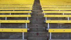 Yellow Bleachers in Stadium, 4K - stock footage