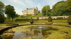 Dunrobin Castle and Garden pond - stock footage