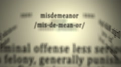 Definition: Misdemeanor Stock Footage