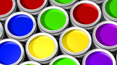 Colorful paint cans - 3d animation Stock Footage