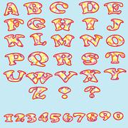 Set of colorful alphabet and numbers. - stock illustration
