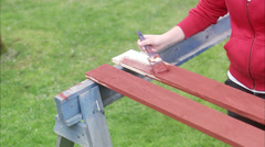 A woman painting plank, Sweden. - stock footage