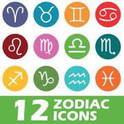 Colored round zodiac icon set Stock Illustration