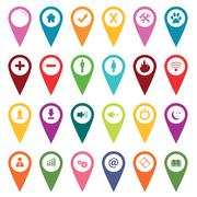 Colored map markers icon set Stock Illustration