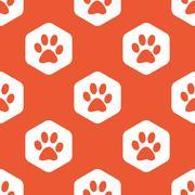 Stock Illustration of Orange hexagon paw pattern