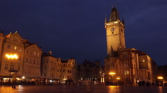 Prague Old Town Square at Night Stock Footage