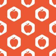 Orange hexagon apple pattern - stock illustration