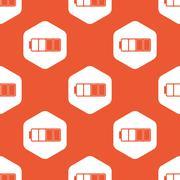 Orange half full battery pattern - stock illustration