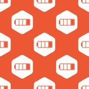 Orange hexagon low battery pattern - stock illustration
