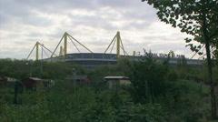 Dortmund football (soccer) stadium on cloudy day Stock Footage