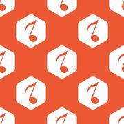 Orange hexagon 8th note pattern Stock Illustration