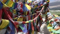 Buddhist Prayer Flags Blowing in the Wind Stock Footage