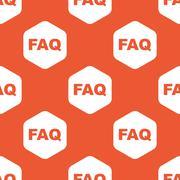 Orange hexagon FAQ pattern - stock illustration