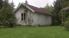 A white summer cottage, Sweden. - stock footage