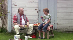 Grandfather and grandson at the summer cottage, Sweden. Stock Footage
