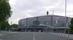 Westfallenhalle, congress center from the parking lot Stock Footage