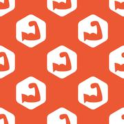 Orange hexagon muscular arm pattern Stock Illustration