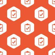 Stock Illustration of Orange hexagon clipboard YES pattern