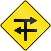 Divided Highway T-Junction in Australia - stock illustration