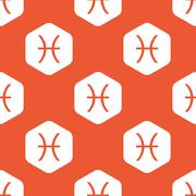 Orange hexagon Pisces pattern - stock illustration