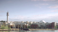 Housing area near to the Stockholm Globe Arena, Sweden. Stock Footage