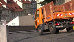 Prague Waste Collection Service Vehicles Stock Footage