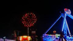 Fireworks Display and Rides In Motion - stock footage