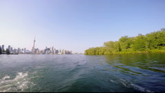 Boating Through Toronto Islands Stock Footage