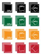 collection of microprocessors - stock illustration