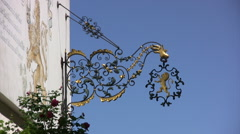 Gold plated emblem on the wall of a building in Boppard Stock Footage
