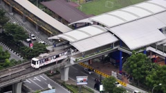 Aerial View of Light Rail Transit (LRT) in Kuala Lumpur in a broad daylight. Stock Footage