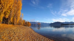 Autumn view at Lake Wanaka, New Zealand with the treble cone in the background - stock footage