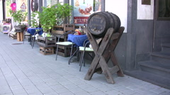 Beer barrel outside a traditional pub in Germany Stock Footage