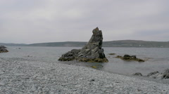 Three Sisters Rock Formation In Bay Roberts, Newfoundland Stock Footage