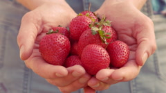 Woman showing her organic strawberries Stock Footage