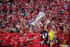 FC Sevilla - the Winner of UEFA Europa League 2015 - stock photo