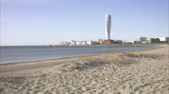 View of Turning Torso, Malmo, Sweden. Stock Footage