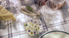 Midsummer party, Sweden. plate with potatoes Stock Footage