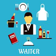 Waiter profession with flat tableware icons - stock illustration