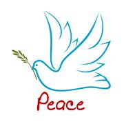 Flying dove of peace with green twig Stock Illustration