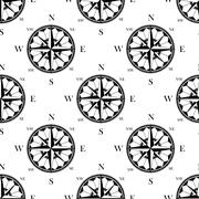 Retro ornate compass roses seamless pattern Stock Illustration